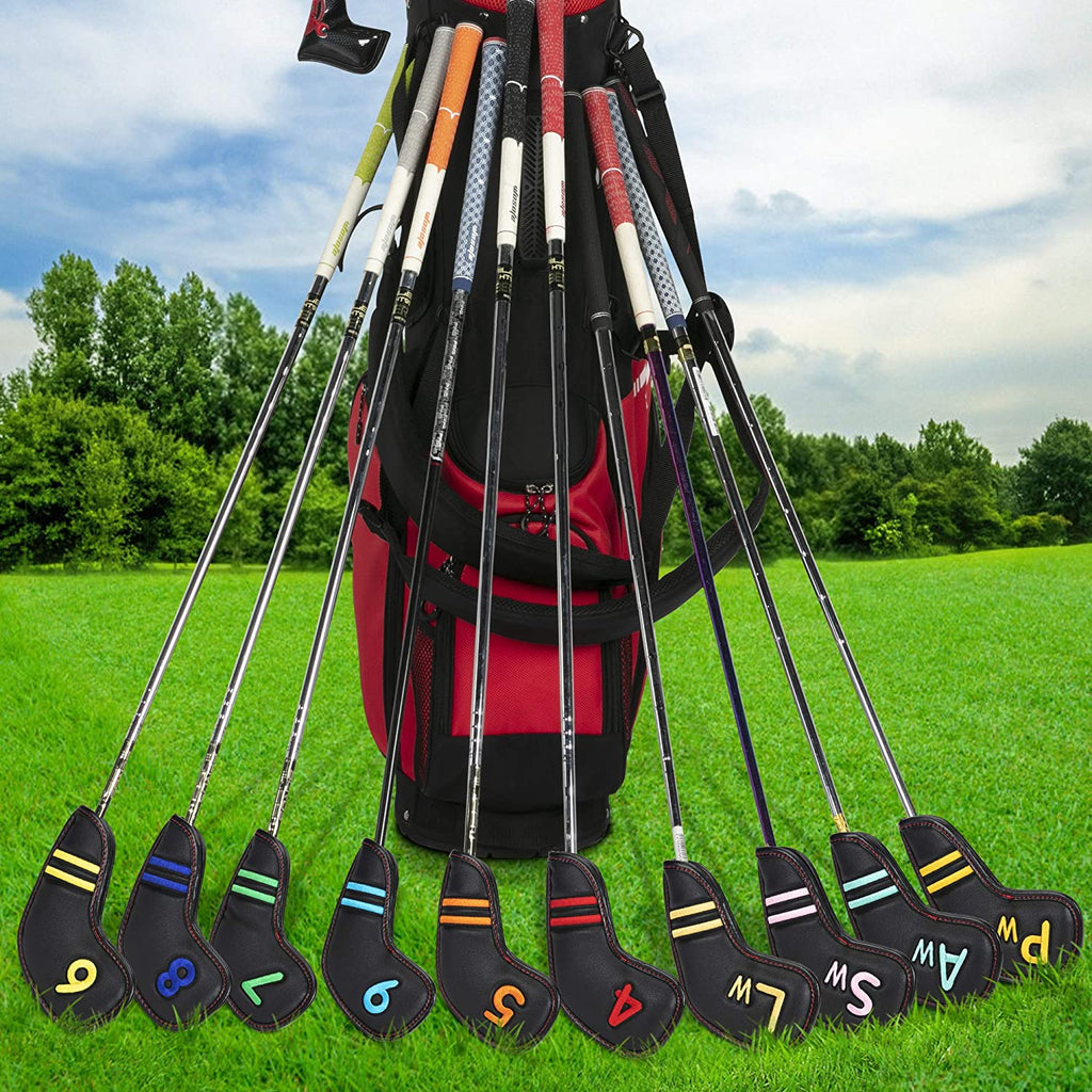 wosofe Golf Iron Covers Black Leather Head Covers Headcover 11pcs Set (4 5 6 7 8 9 Pw Aw Sw Lw X Colorful Number Embroideried PU Leather Waterproof Fit All Brands