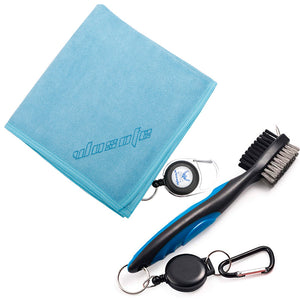 Golf towel Brush tool Kit with Club Groove Cleaner Retractable Extension Cord and Clip