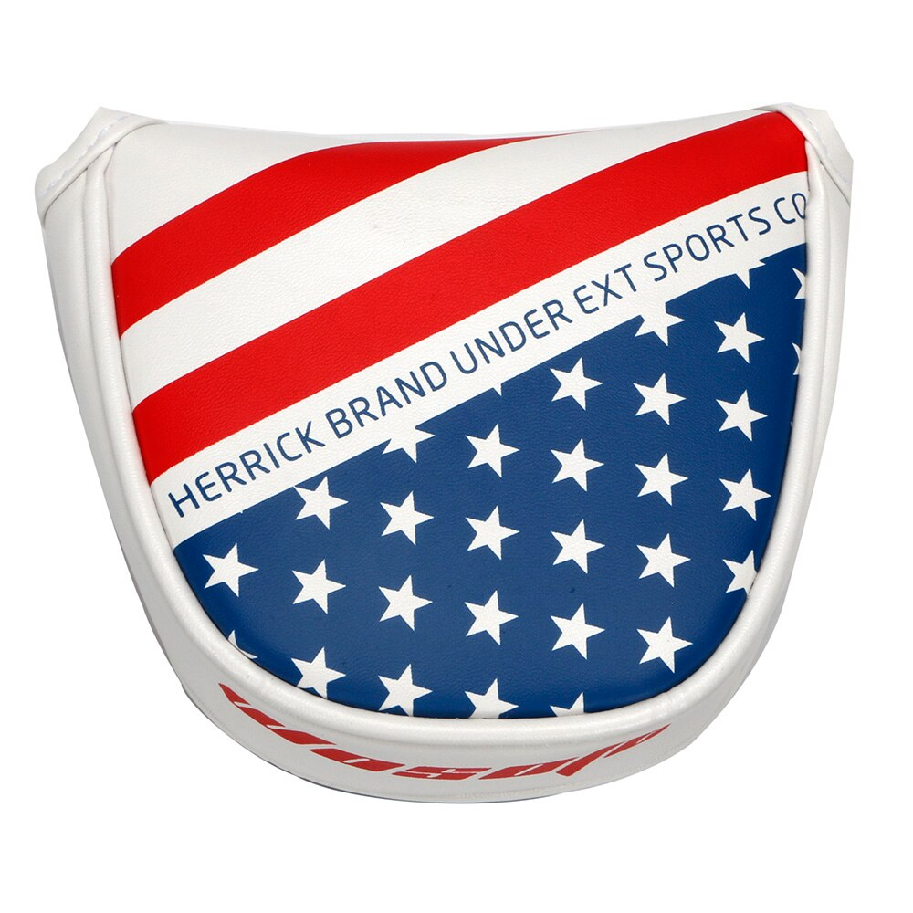 Golf Mallet Headcover USA Flag Design Golf Putter Headcover with Magnetic Closure