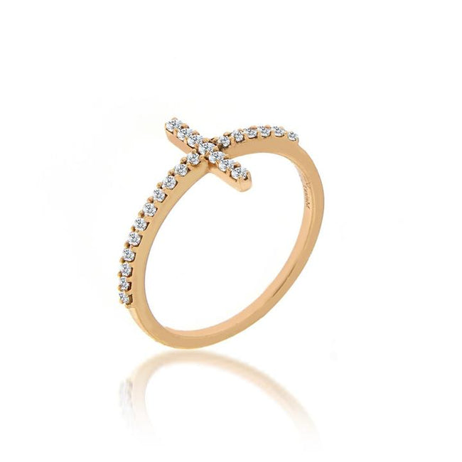 Meira T Yellow Gold Cross Ring - Majesty Jeweler
