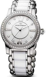 David Yurman Women's Classic Black/White Ceramic Steel Diamonds 30mm Watch - Majesty Jeweler