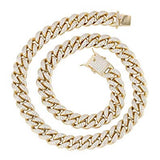 925 Gold Plated Sterling Silver Cuban Link Chain with Cubic Zirconia 9mm - Majesty Jeweler