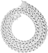 925 Sterling Silver Cuban Link Chain with Cubic Zirconia 9mm - Majesty Jeweler