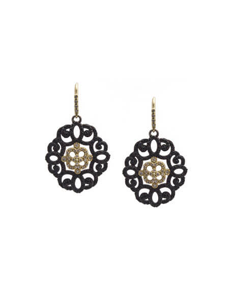 Armenta Old World Filigree Earrings with Black Sapphires & Diamonds - Majesty Jeweler