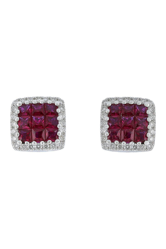 Bony Levy 18K White Gold Invisibly Set Ruby & Pave Diamond Halo Square Stud Earrings - Majesty Jeweler