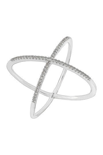Carriere Sterling Silver Diamond Crisscross Ring - Majesty Jeweler