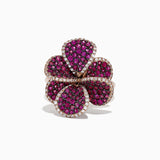 Effy Nature 14K Rose Gold Ruby and Diamond Flower Ring - Majesty Jeweler