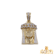 Diamond Jesus Face Pendant 14K - Majesty Jeweler