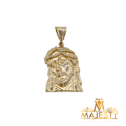 Jesus Face Pendant with Tear 14K - Majesty Jeweler