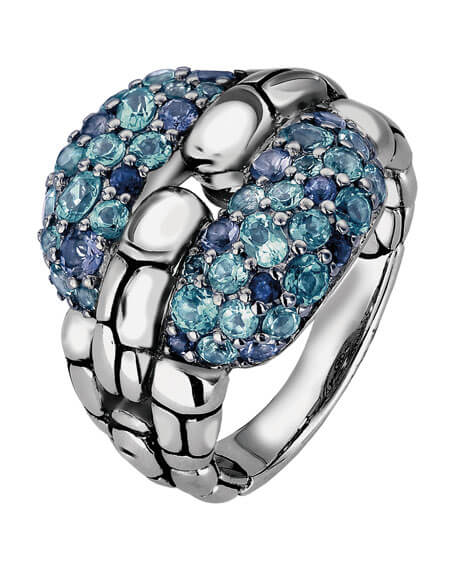 John Hardy Kali Silver Lagoon Swiss Blue Ring - Majesty Jeweler