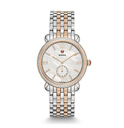 Michele Gracile Diamond Mother-Of-Pearl Dial Two-Tone Womens Watch - Majesty Jeweler