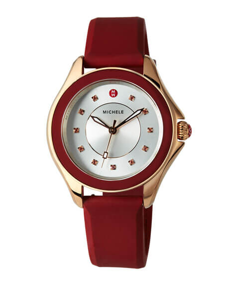Michele Rose Gold Cape Topaz Watch with Red Silicone Strap - Majesty Jeweler