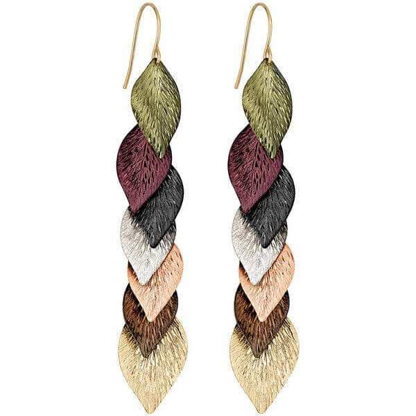 Multi-Colored Leaf Dangle Earrings in 14K Gold - Majesty Jeweler