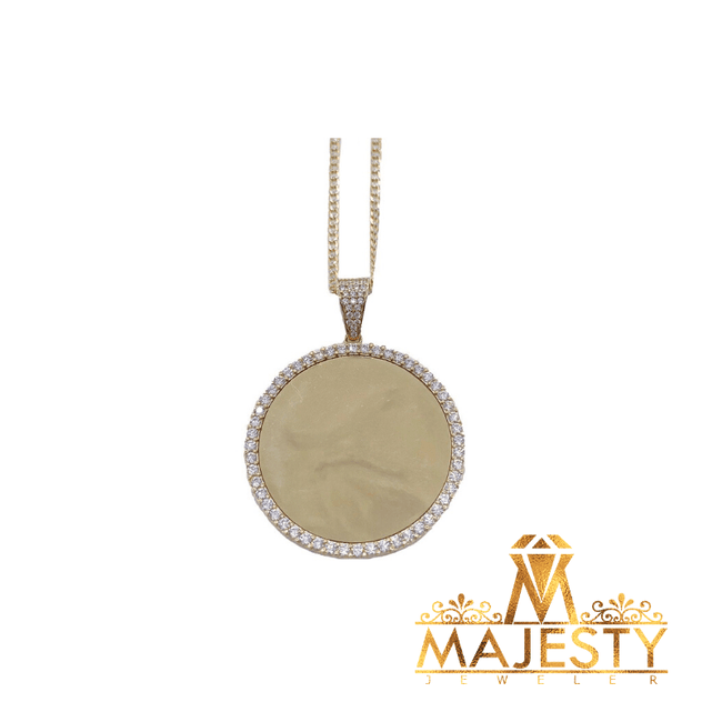 Reflective Gold Button Pendant - Majesty Jeweler