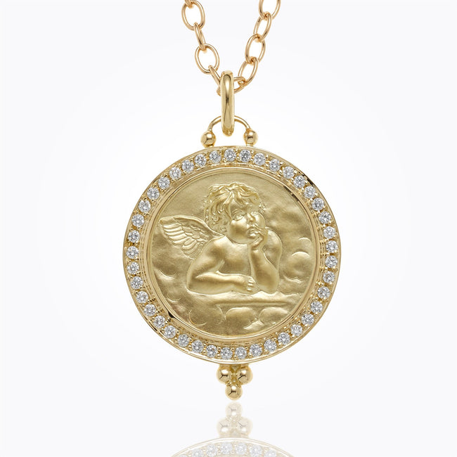 Temple St. Claire Round Angel Pendant with Diamond Granulation - Majesty Jeweler