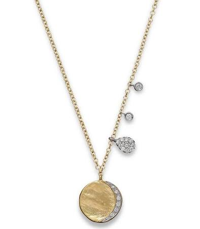 "Meira T Diamond Disc Charm Necklace in 14K Yellow Gold, 16"" - Majesty Jeweler"