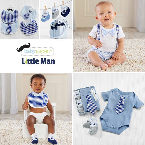 Little Man Themed Baby Gifts From Baby Aspen | Mini Me Clothes for Baby Boy  | Baby Bow Tie