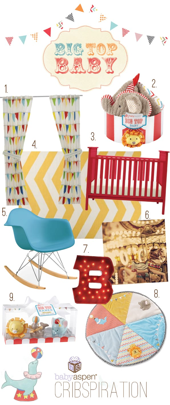 Circus Themed Nursery Collage | Cribspiration: Big Top Baby | Baby Aspen