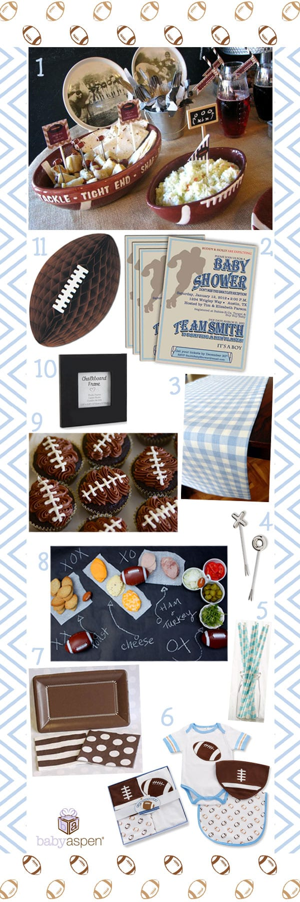 Blue and Brown Vintage Football Baby Shower Theme | Football Themed Snacks | Baby Boy | Baby Shower | Baby Football Outfit | Baby Aspen