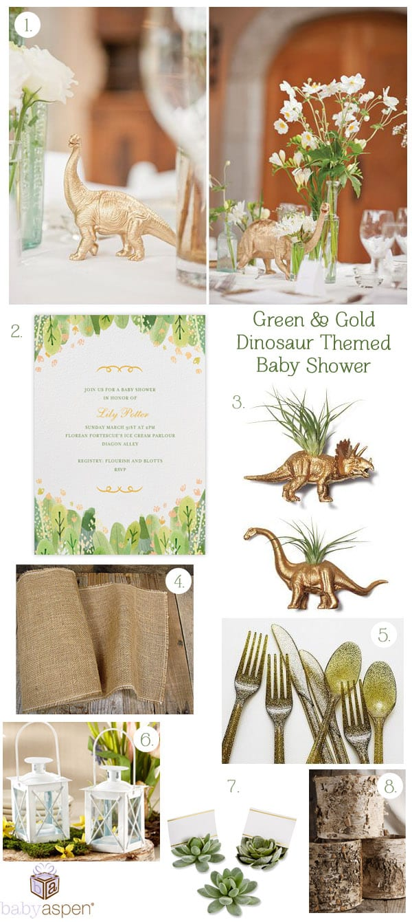 Green and Gold Baby Shower Inspiration | Gold Dinosaur Themed Baby Shower Baby Shower Ideas | Baby Aspen