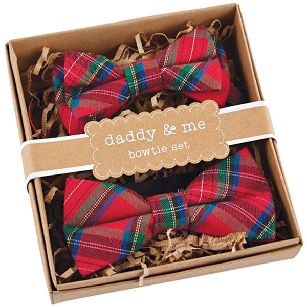 Cute Matching Red Plaid Holiday Daddy and Me Bow Ties | @cornerstorkbaby | CornerStorkBabyGifts.com