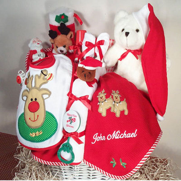 Personalized Christmas Basket | Corner Stork Baby Gifts | Holiday Gift Guide