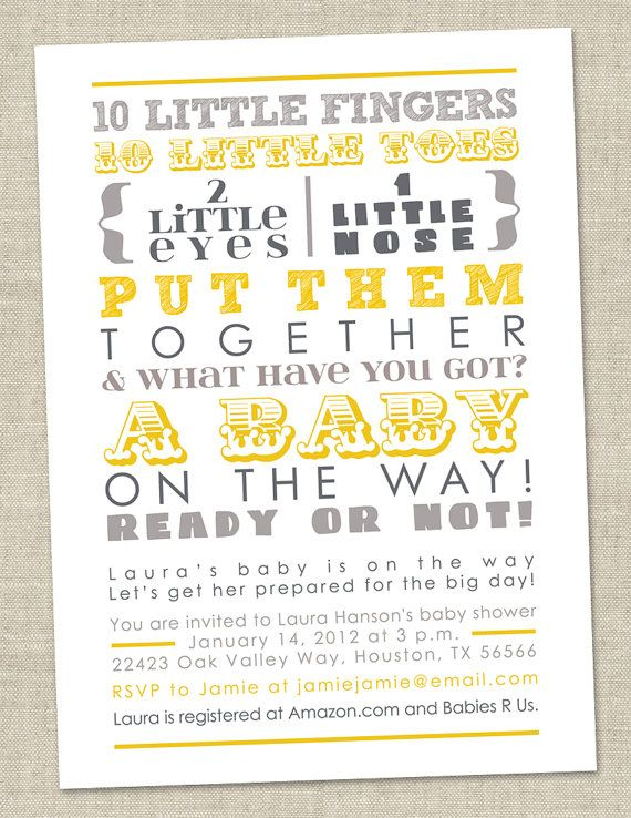 Bbay Shower Invitation via Etsy | Yellow and Gray Gender Neutral Baby Shower Color Scheme | Baby Aspen Blog
