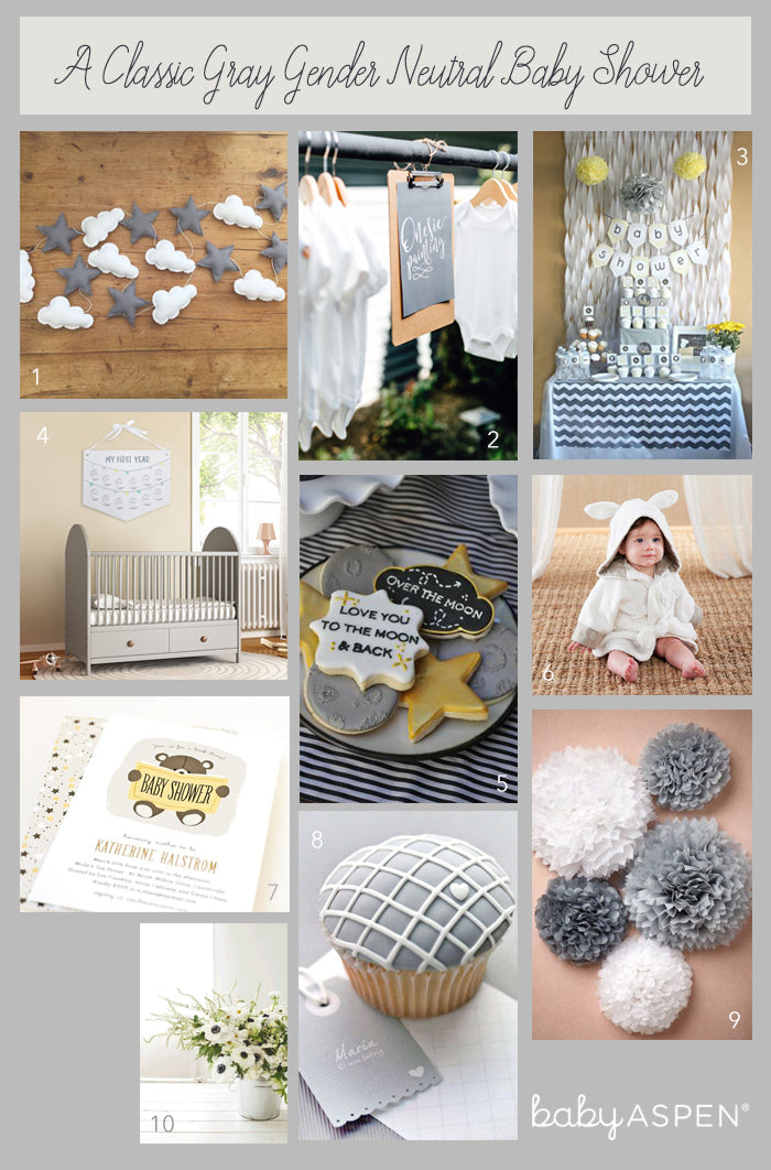 Gender Neutral Baby Shower Collage | A Classic Gray Gender Neutral Baby Shower | Baby Aspen