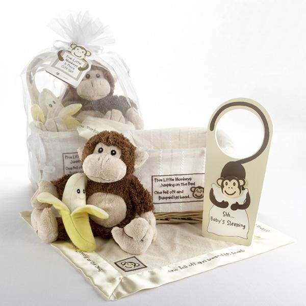 Five Little Monkeys 5-Piece Gift Set in Keepsake Basket
