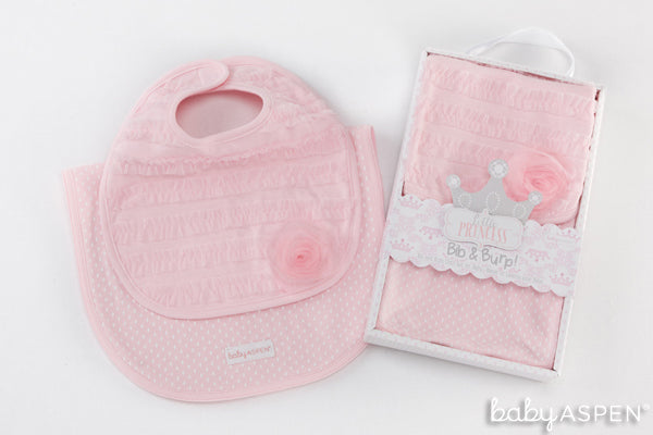pink ruffled bib and burp cloth set from the Baby Aspen Little Princess Collection