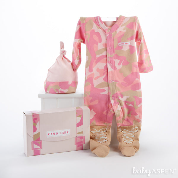 A Baby Pink Camo Layette from Baby Aspen makes an adorable first Halloween costume for baby!