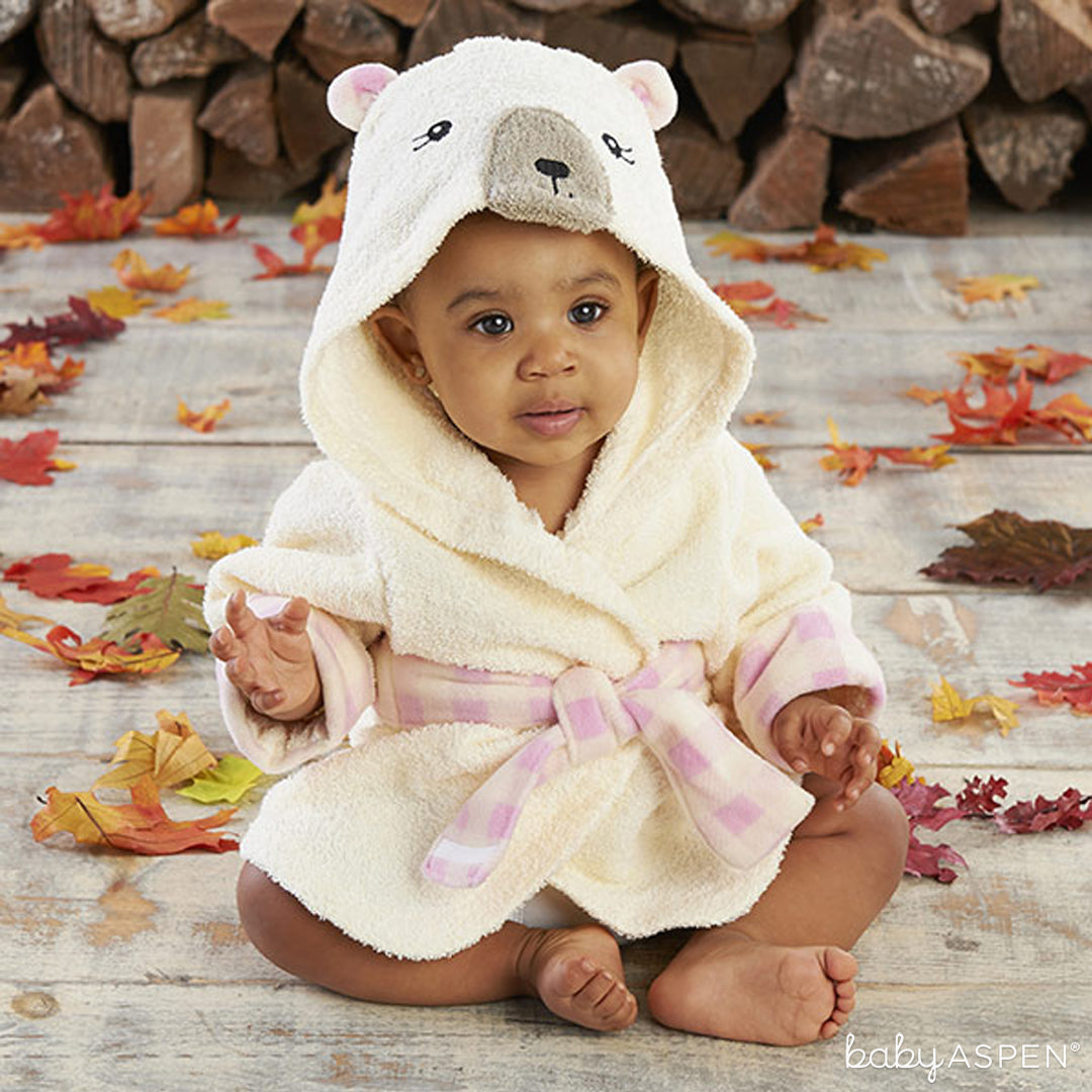 Pink Plaid Bear Robe with Baby | Baby Aspen | Happy Camper Collection