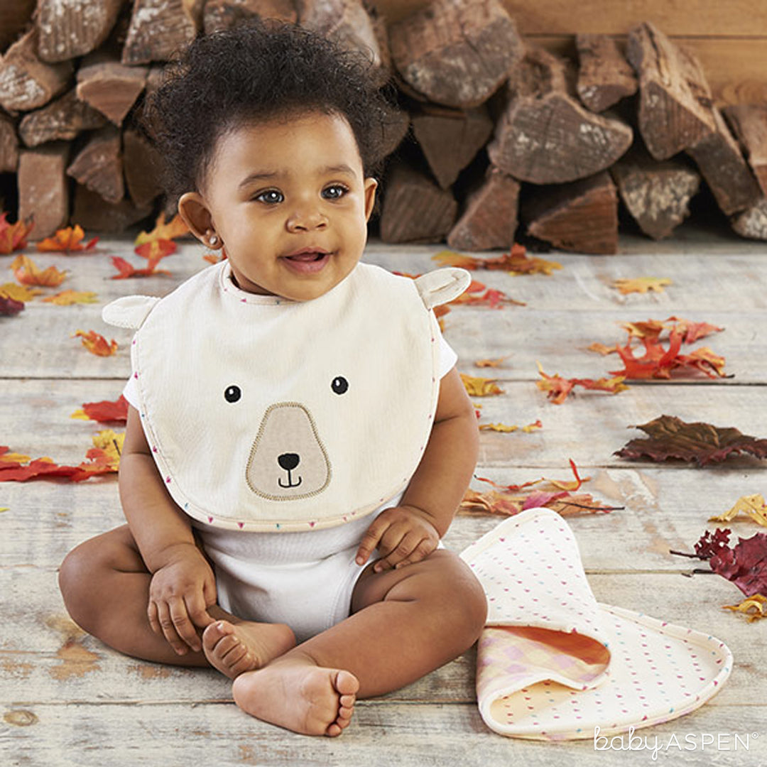 Pink Plaid Bear Bib and Burp Cloth | Baby Aspen | Happy Camper Collection