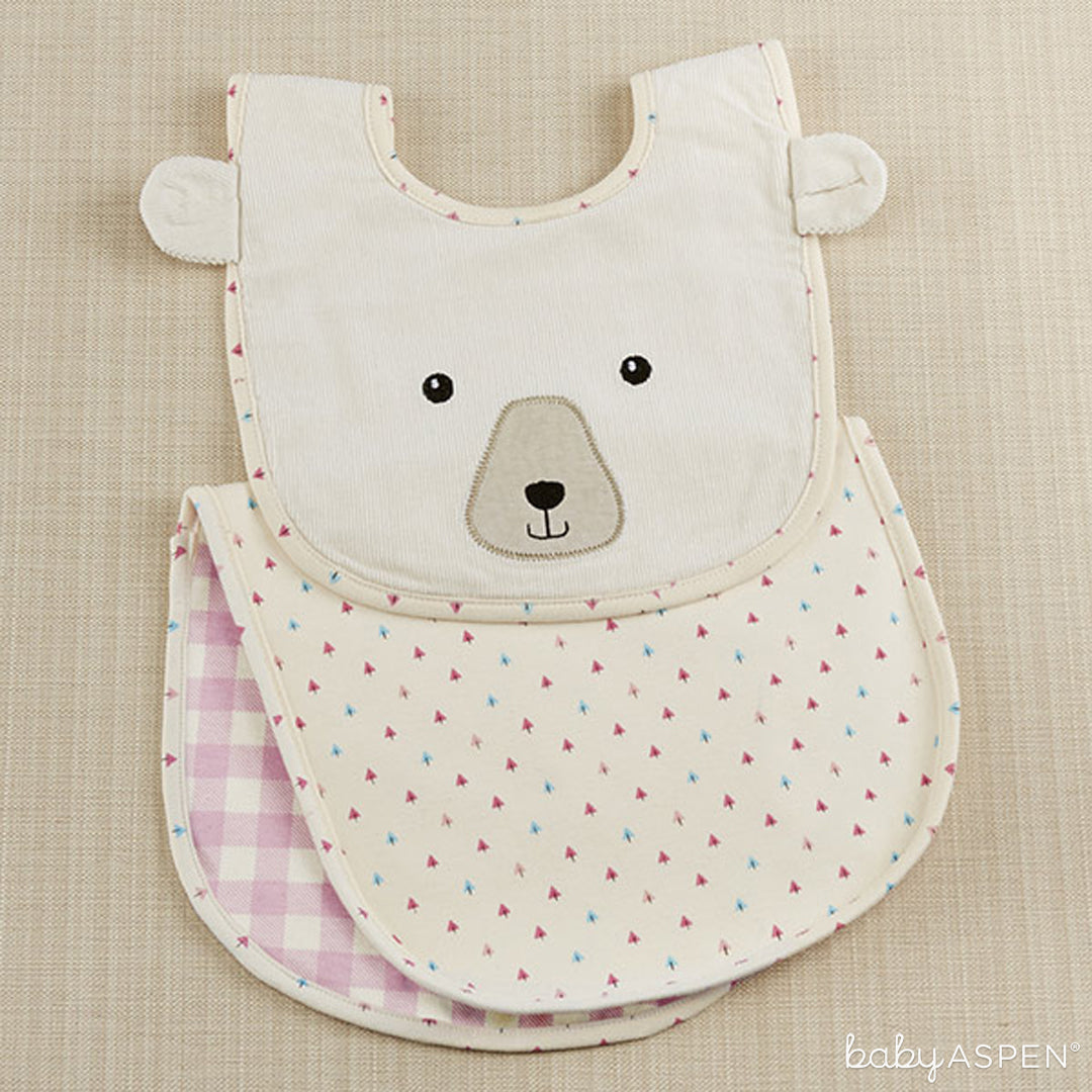 Girl Baby Gift | Pink Plaid Bear Bib and Burp Cloth Set | Baby Aspen | Happy Camper Collection