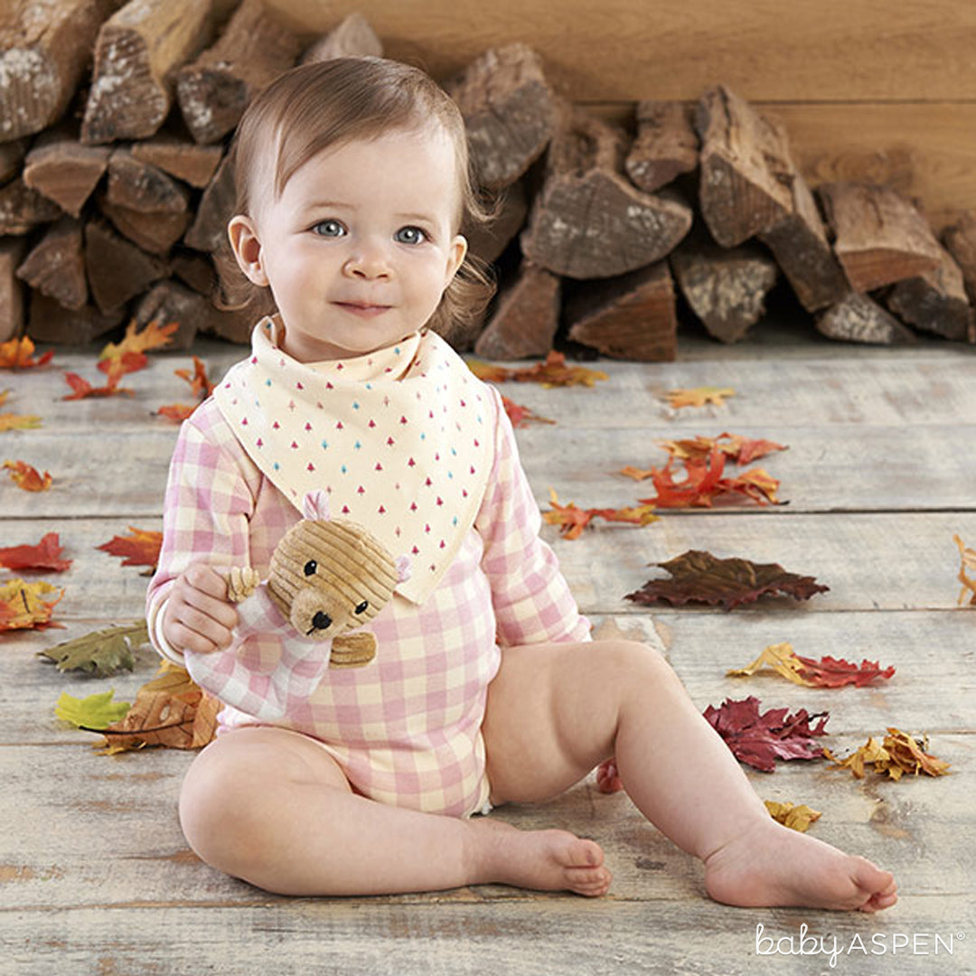 Pink Plaid Three-Piece Gift Set | Baby Aspen | Happy Camper Collection