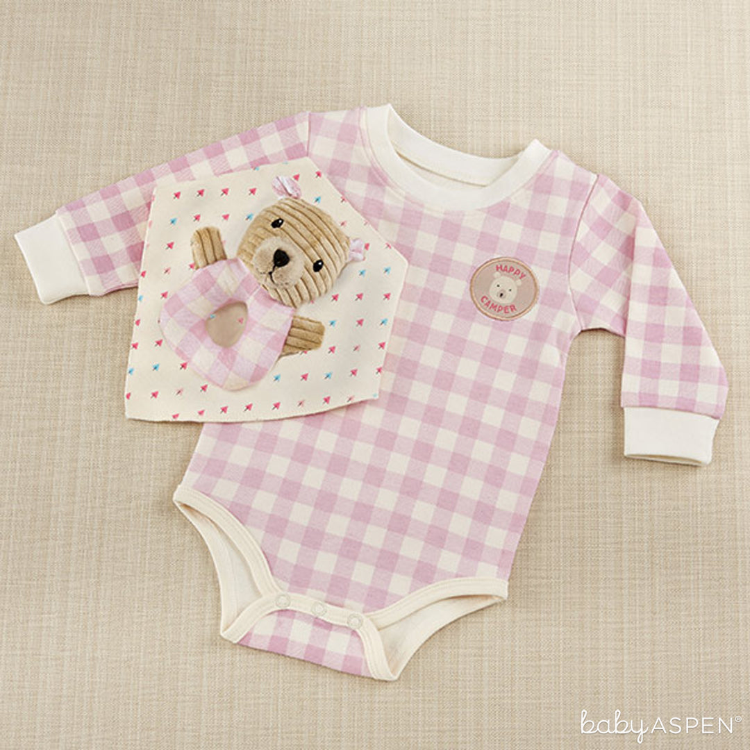 Pink Plaid Bodysuit, Bandanna Bib, and Bear Rattle Set | Baby Aspen | Happy Camper Collection