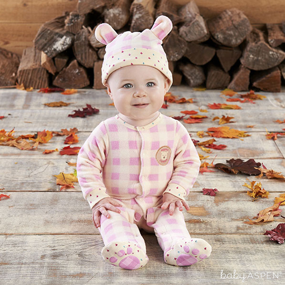 Adorable Pink Plaid Bear Pajamas for Baby | Baby Aspen | Happy Camper Collection