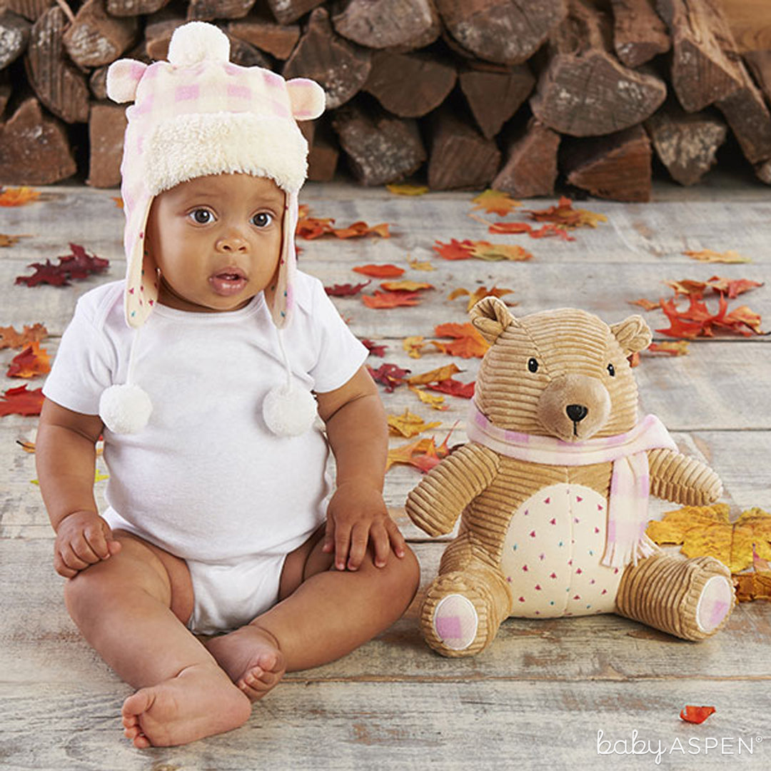 Pink Plaid Claire the Bear Plush Plus Hat for Baby | Baby Aspen | Happy Camper Collection