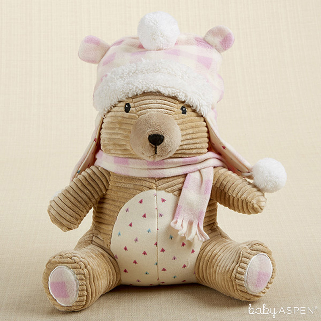 Claire the Bear Pink Plaid Plush Plus Hat for Baby | Baby Aspen | Happy Camper Collection