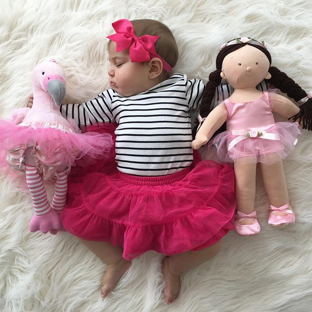 Baby in Tutu with Baby Aspen Flamingo Plush| Fan Photo by  alexandramarie2015 via Instagram | Baby Aspen