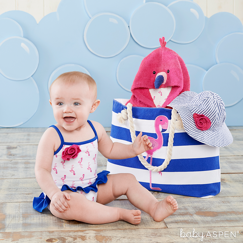 Baby Flamingo Bathing Suit | Nautical Flamingo Tote Set | Baby Aspen