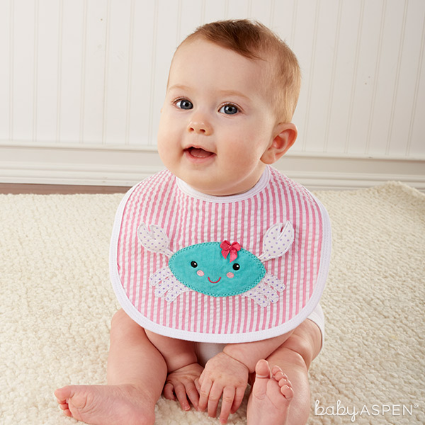Baby Girl in Crab Bib | Beach Buddies Bib Set | Baby Aspen