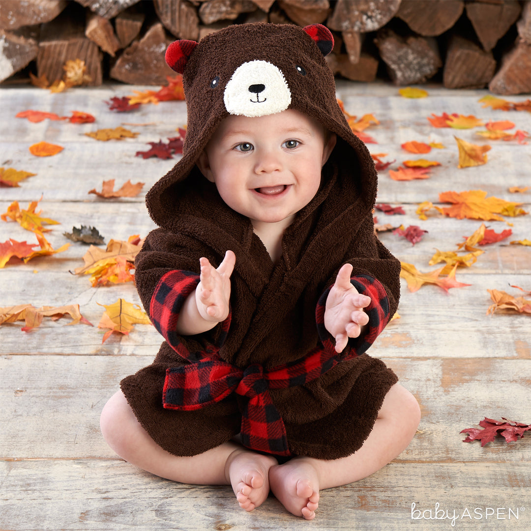 Beary Bundled Brown and Red Hooded Robe | Baby Aspen