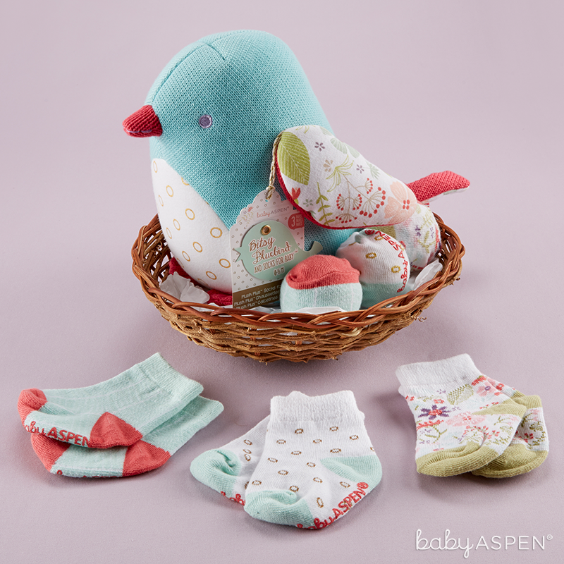 Bitsy the Bird Plush Plus Baby Socks | Sweet Baby Blossom Collection by @BabyAspen
