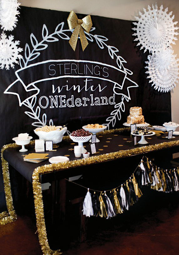 Black and Gold Winter Wonderland | Winter 'One'derland Birthday Party | Baby Aspen