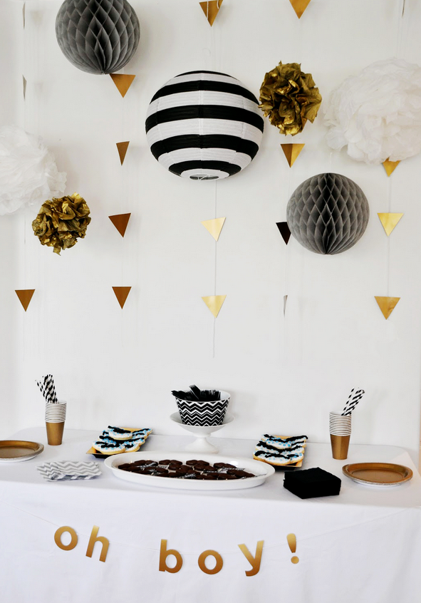 Geometric Black White and Gold Baby Shower | Diesel in Bloom
