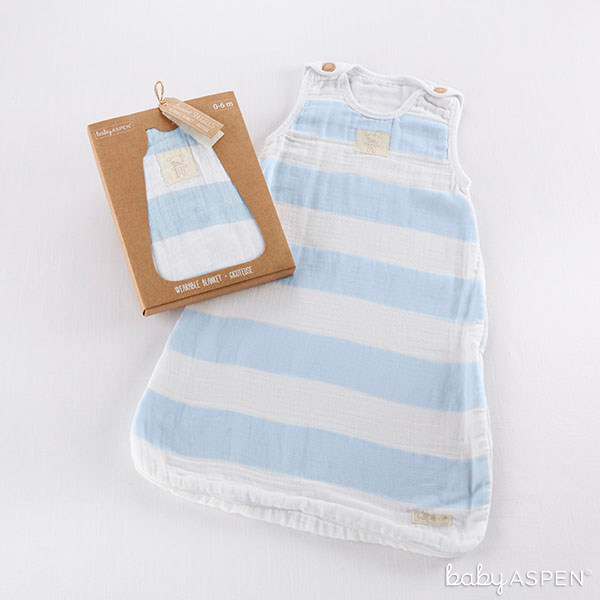 Blue and White Striped Wearable Blanket | Baby Aspen