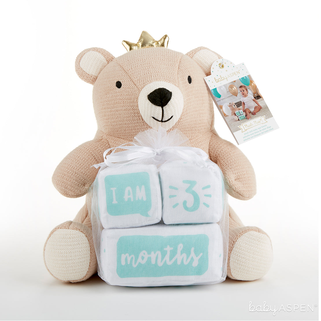 My First Milestone Brown Bear Plush Plus Baby Age Blocks