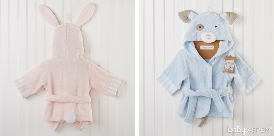 Pink Bunny and Blue Puppy Baby Bath Robes | Baby Aspen