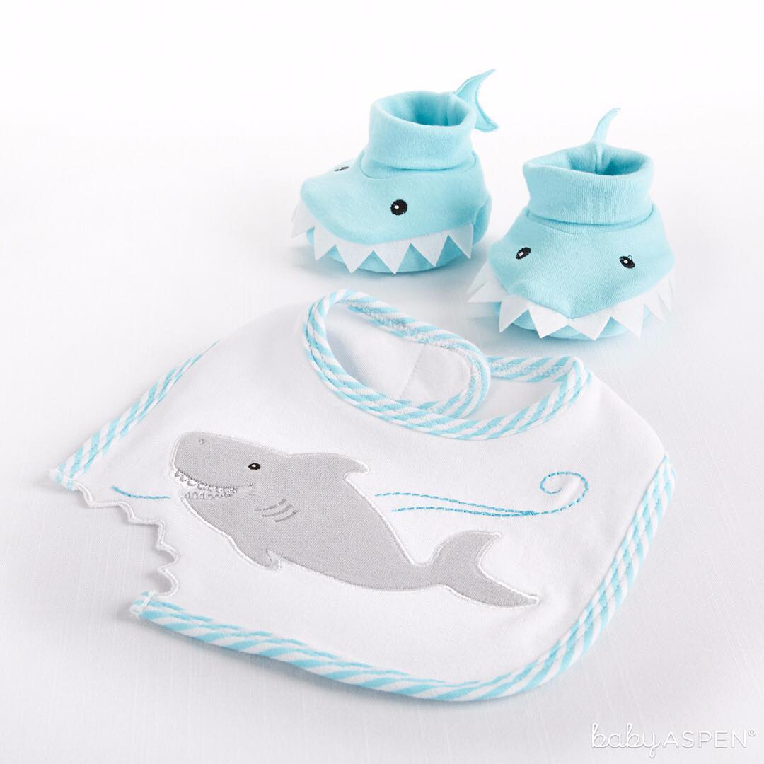 Chomp & Stomp Shark Bib & Booties Gift Set